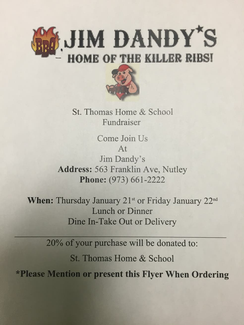 Ribs and Education! St  Thomas the Apostle School and Jim Dandy's