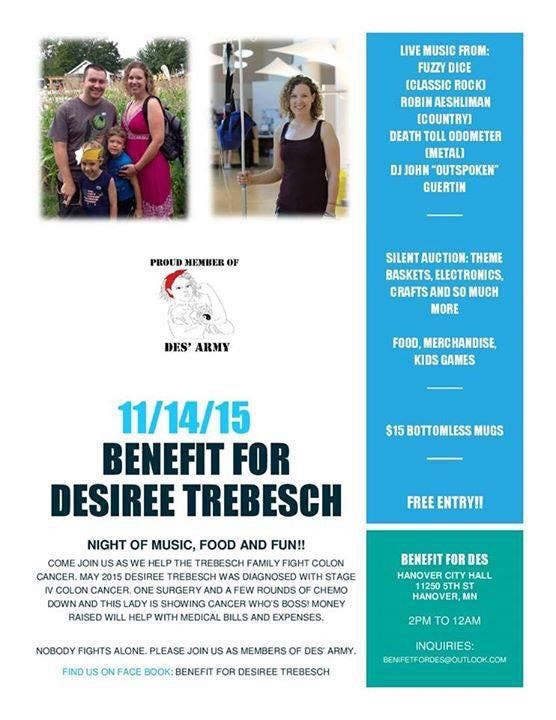 Benefit For Desiree Trebesch Join Des Army In Her Battle Against Colon Cancer St Michael Mn Patch