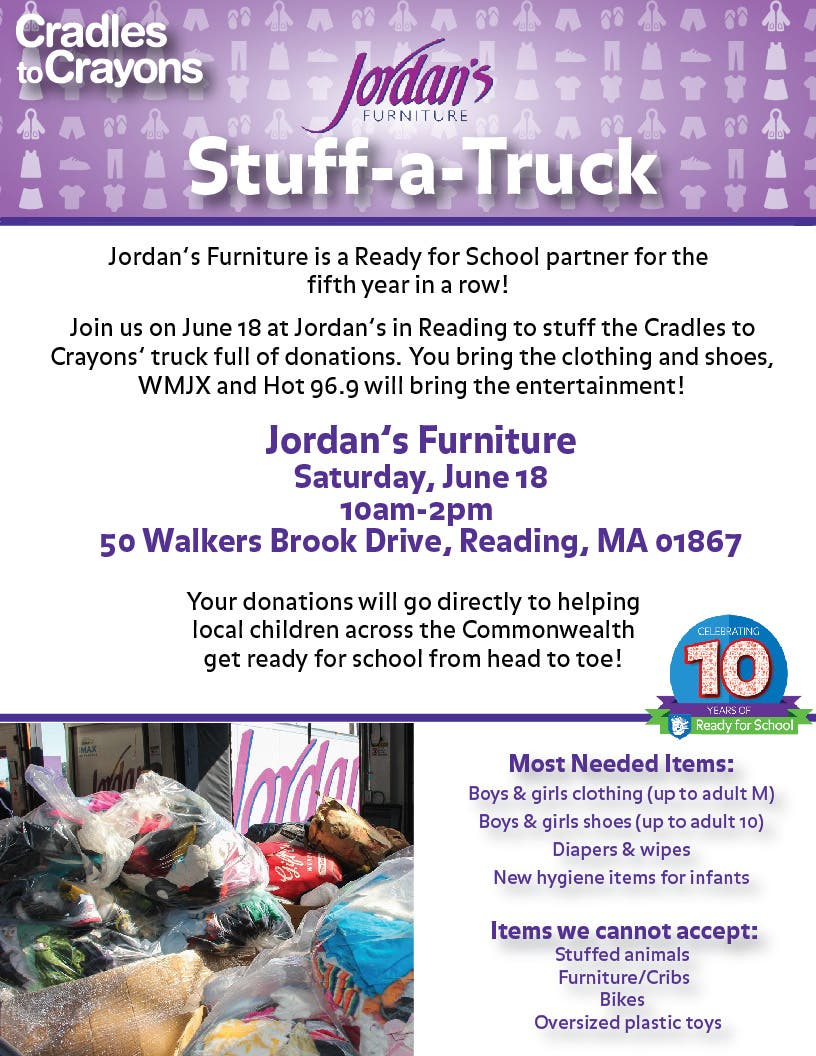 Cradles To Crayons Jordan S Furniture Stuff A Truck Lynnfield