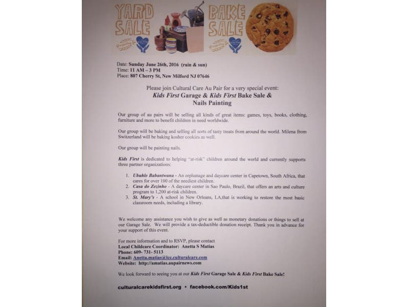 Kids First Charity Garage And Bake Sale New Milford Nj Patch