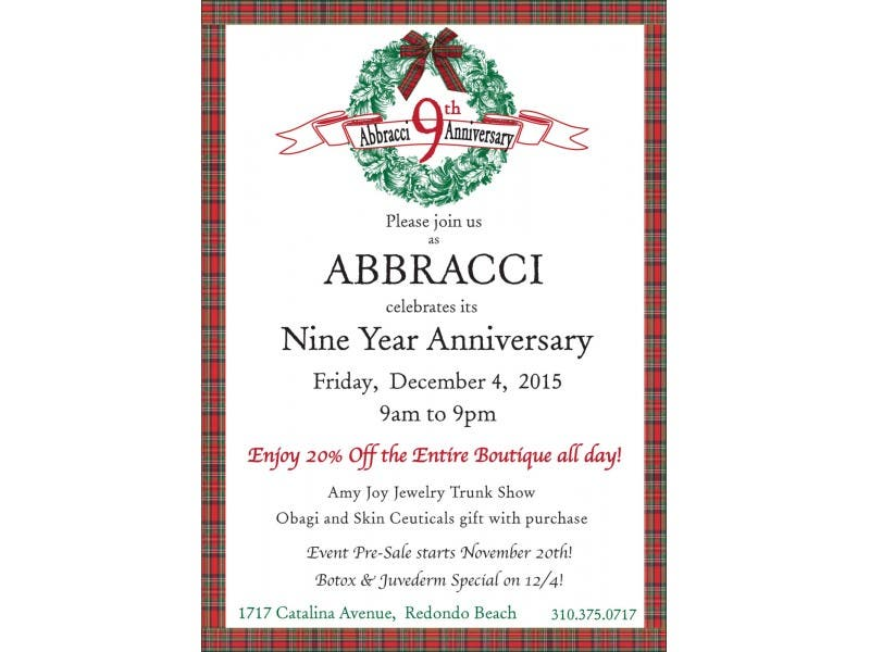 Abbracci Med Spa Boutique 9th Anniversary Celebration Sale