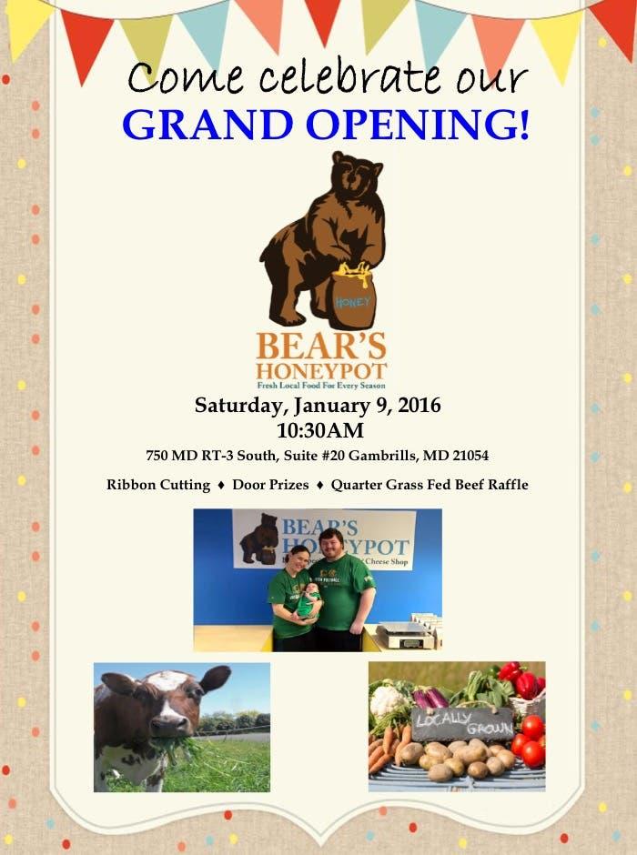 Bear's Honeypot Grand Opening - Crofton's newest natural