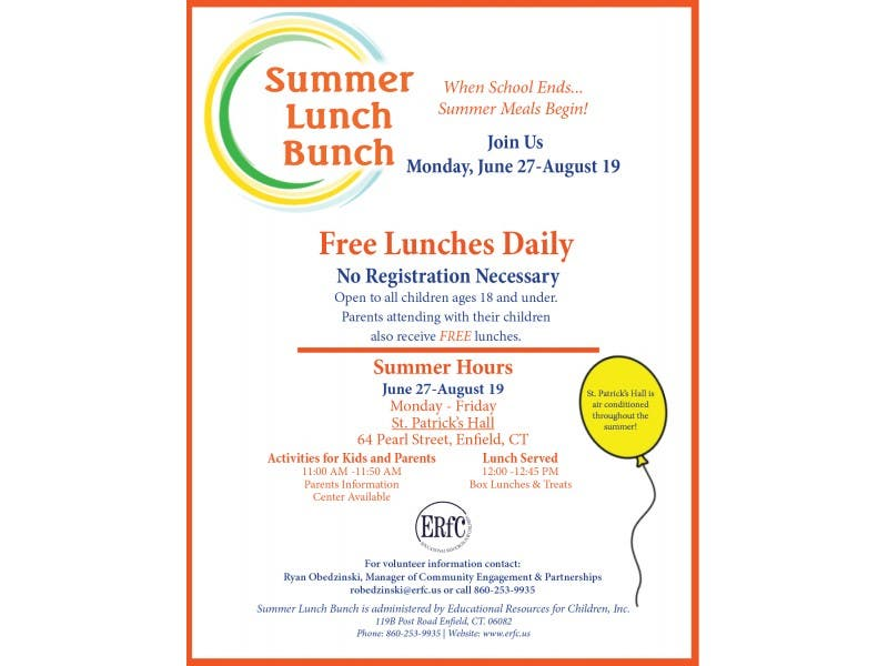 free summer meals for kids opens june 27th enfield ct patch