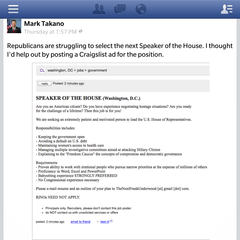 Inland Democratic Congressman Posts Craigslist Ad For Speaker Job