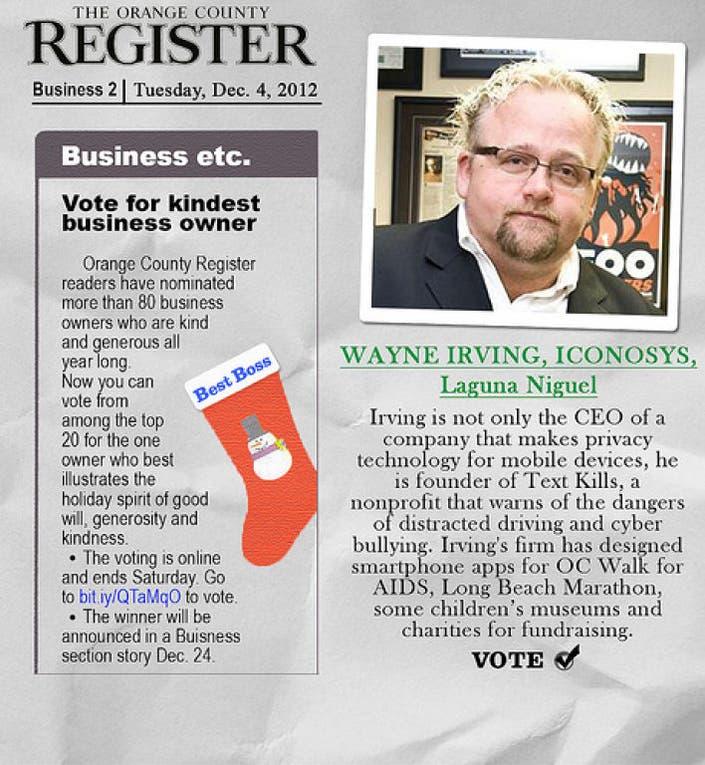 Text Kills Founder Wayne Irving Nominated For Orange County