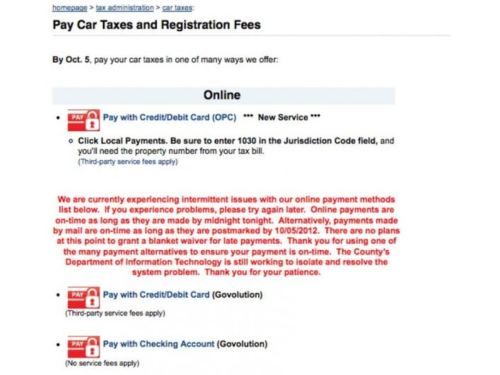 Fairfax County Car Tax >> Update Fairfax County Reports Problems With Online Tax Payment