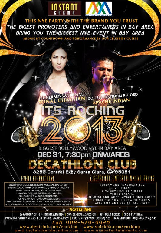 ITS ROCKING 2013 BOLLYWOOD NEW YEARS EVE PARTY IN BAY AREA FEAT