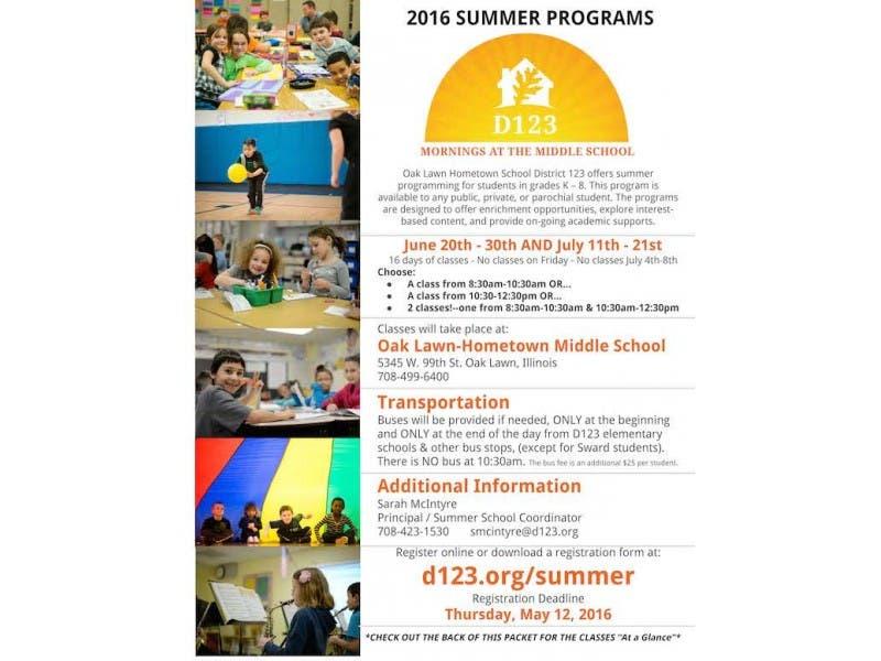 D123 Summer School Registration Is Now Open Oak Lawn Il Patch