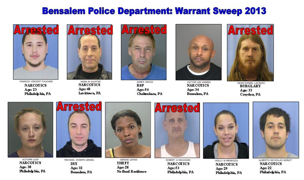 Bensalem Police Make 17 Arrests in Warrant Sweep | Bensalem, PA Patch