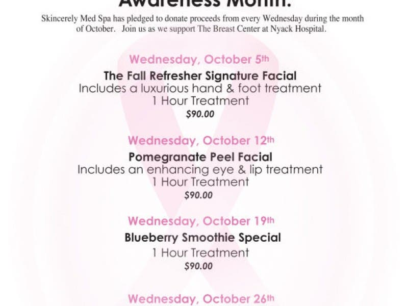 Skincerely Med Spa supports The Breast Center at Nyack Hospital
