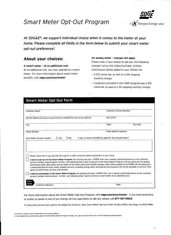 Smart Meter Opt Out Letter.Smart Meter Opt Out Update 4 27 12 La Mesa Mount Helix Ca