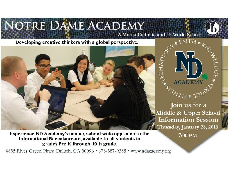 Notre Dame Academy Middle And Upper School Information Session