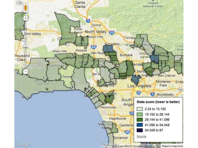 Bad Areas Of Los Angeles Map.How Bad Is Hollywood Pollution See What New State Figures Say Map