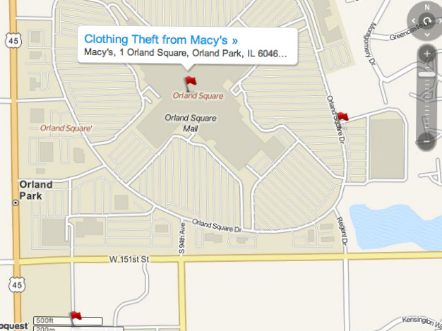 Crime Map: Retail Theft Arrests in Orland Park | Orland Park, IL Patch