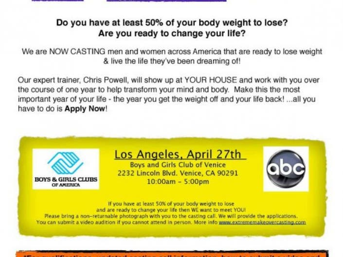 Extreme Makeover Weight Loss Edition Casting in Venice