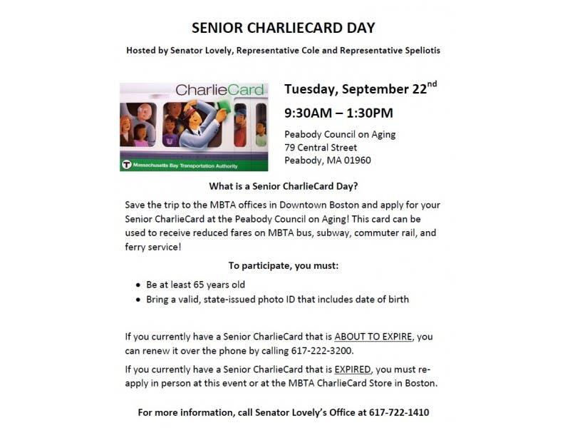 Senior CharlieCard Day - Tuesday, September 22nd | Peabody