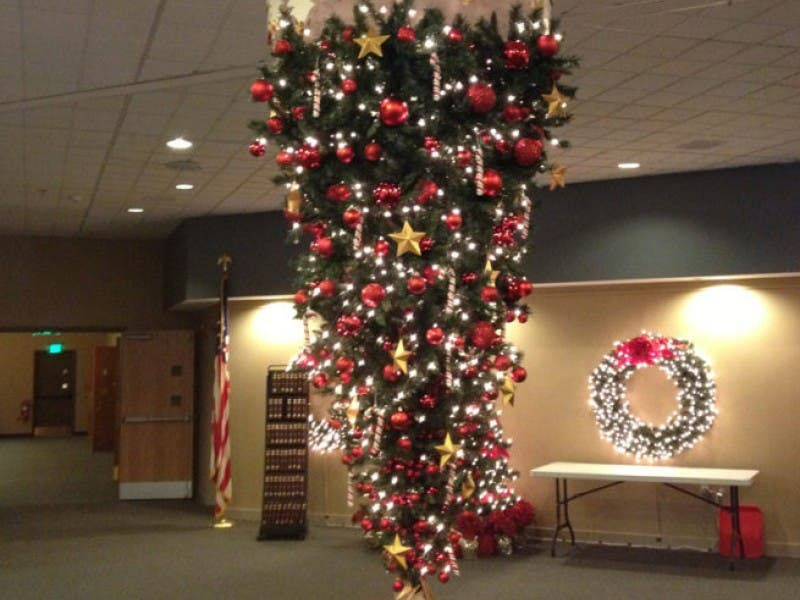 the story behind grace chapels gravity defying upside down christmas tree - Upside Down Christmas Tree Decorated