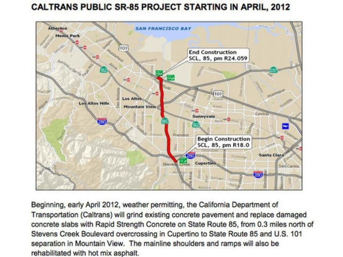 Highway 85 Road Weekend Closures | Cupertino, CA Patch