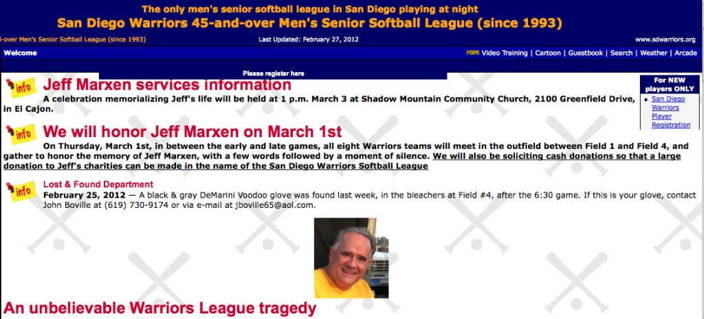 Hours Before Death, Dr  Jeff Marxen Had Best Softball Game