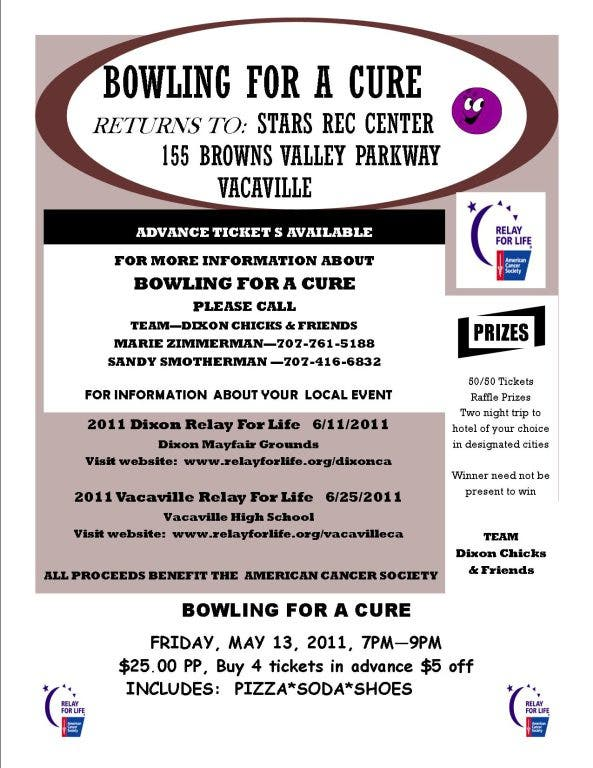 Bowling for a Cure, All Proceeds Benefit American Cancer Society