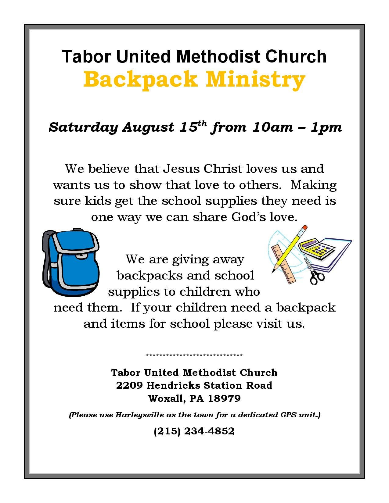 Tabor Church Backpack Ministry - Free Backpack & School