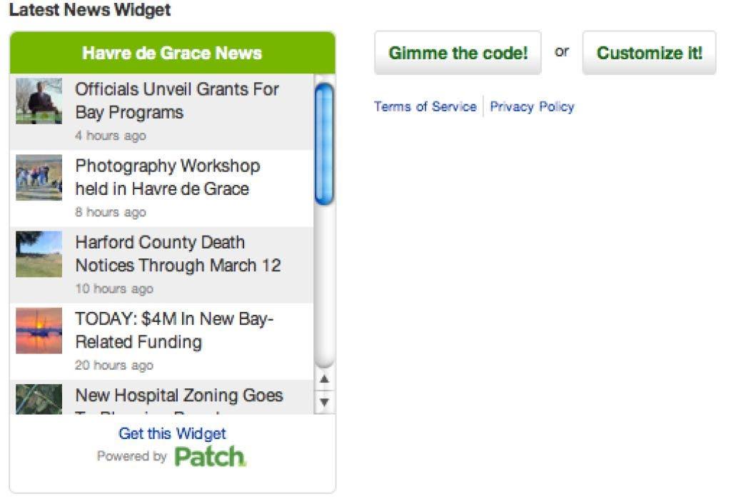 Have A Website? Get The Patch Widget | Havre de Grace, MD Patch