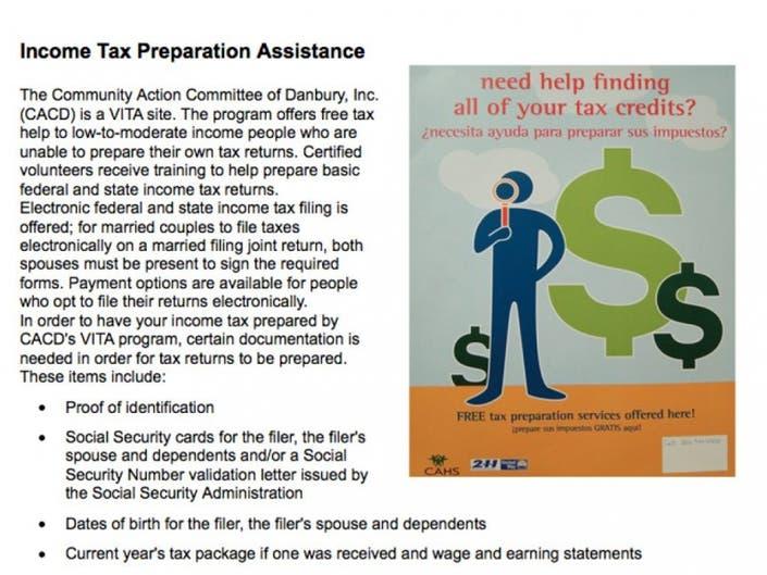 CACD's Vita Tax Program May Be IRS Target   Danbury, CT Patch