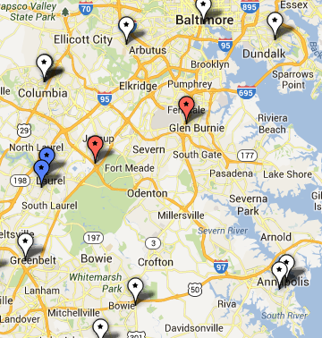 MAP: Find July 4th Fireworks Around Maryland   Anne Arundel ... Arbutus Lake Bottoms Map on