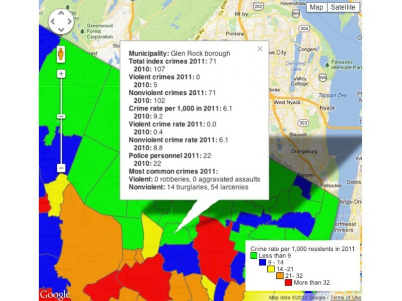 Ridgewood New Jersey Map.How Does Crime In Ridgewood Glen Rock Compare To Neighboring Towns