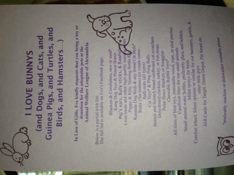 Restaurant Eves Birthday Gift To Animals