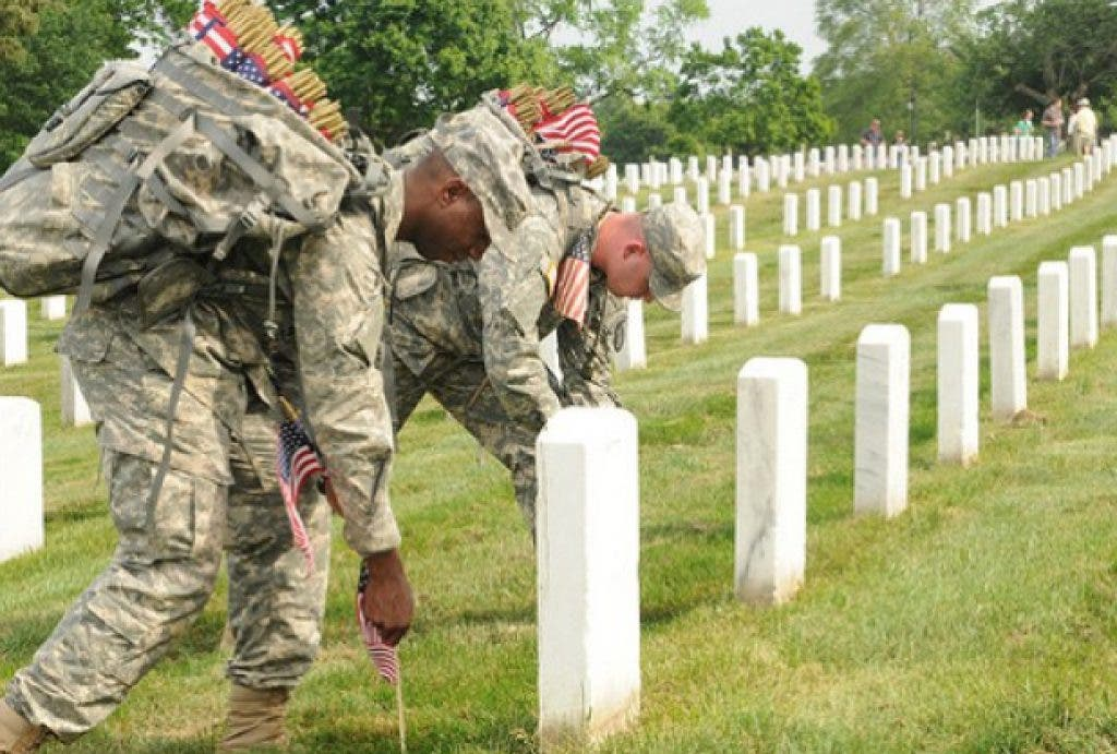 Old Guard Soldiers Honor Fallen with Flags at Arlington
