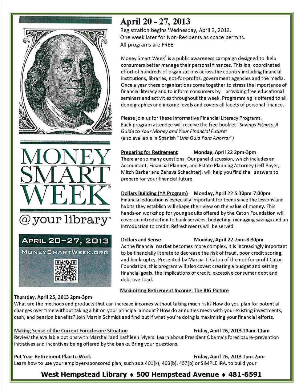 Money Smart Week@your library | Malverne, NY Patch