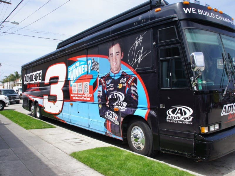 Extreme Pizza Welcomes NASCAR #3 Tour Bus | La Jolla, CA Patch