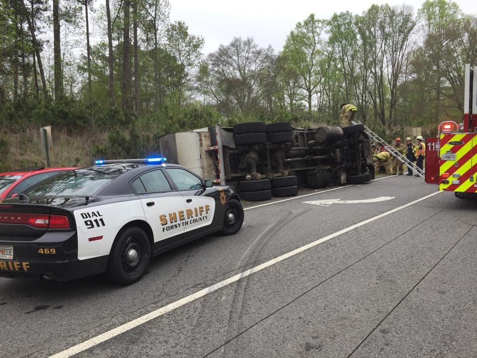 Truck Overturns In South Forsyth Driver Injured Cumming