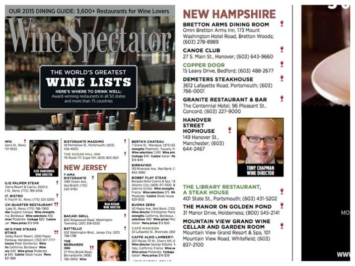 Granite State Restaurants Make Wine List