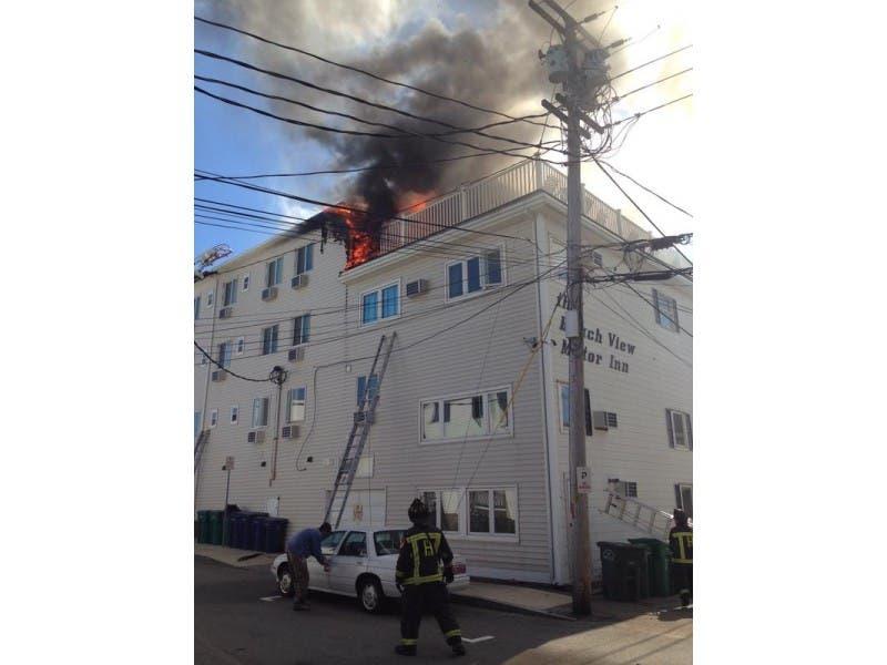 Firefighters Tackling Blaze At Beach View Inn 0
