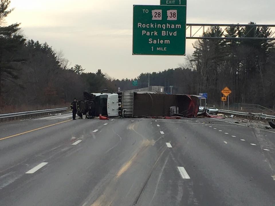 Flatbed Truck Rolls Over After Being Struck By Car: NHSP | Salem, NH