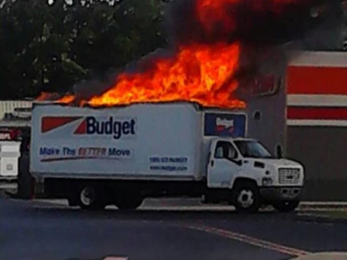 Fire Consumes Rental Truck on North Main Street