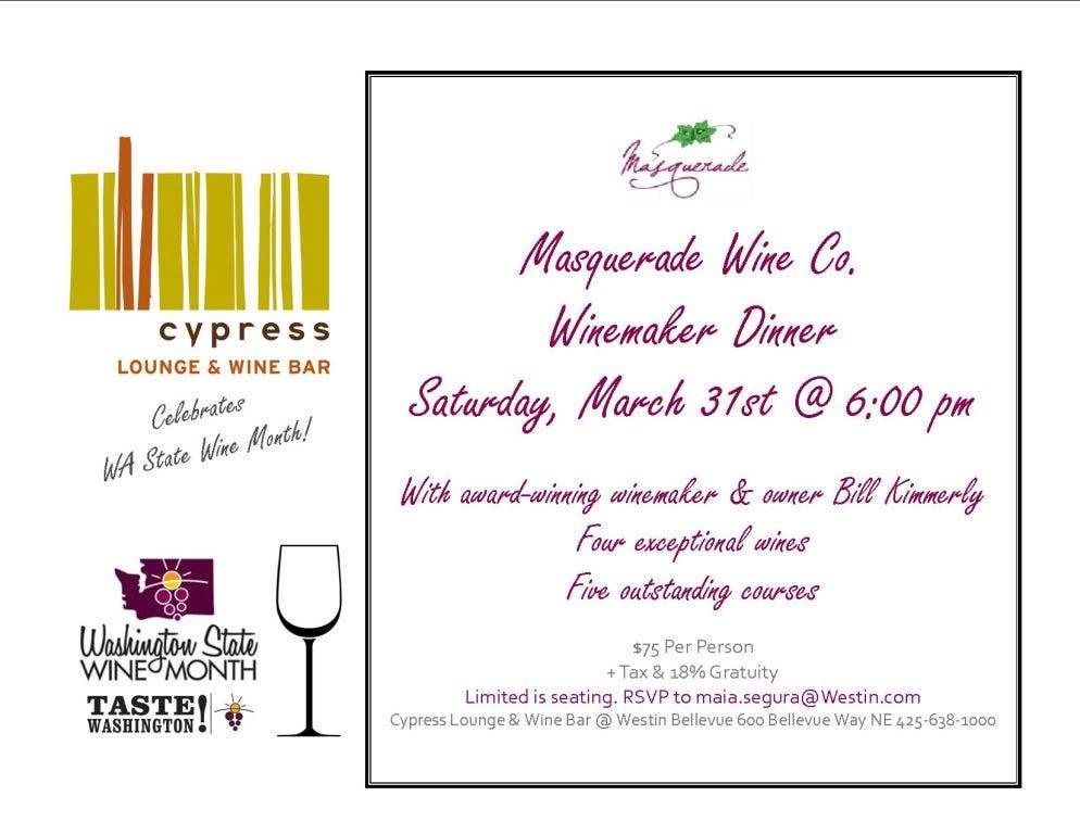 Masquerade Wine Co  Fireside Winemaker Dinner @ Cypress