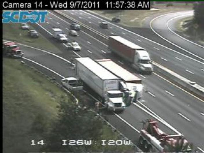 Two Tractor Trailers Wreck at I-20 and I-26 | Columbia, SC Patch