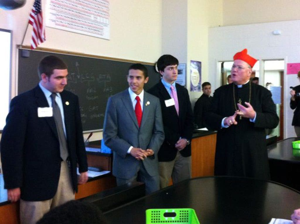 Cardinal Dolan Pays Visit to Iona Prep in New Rochelle