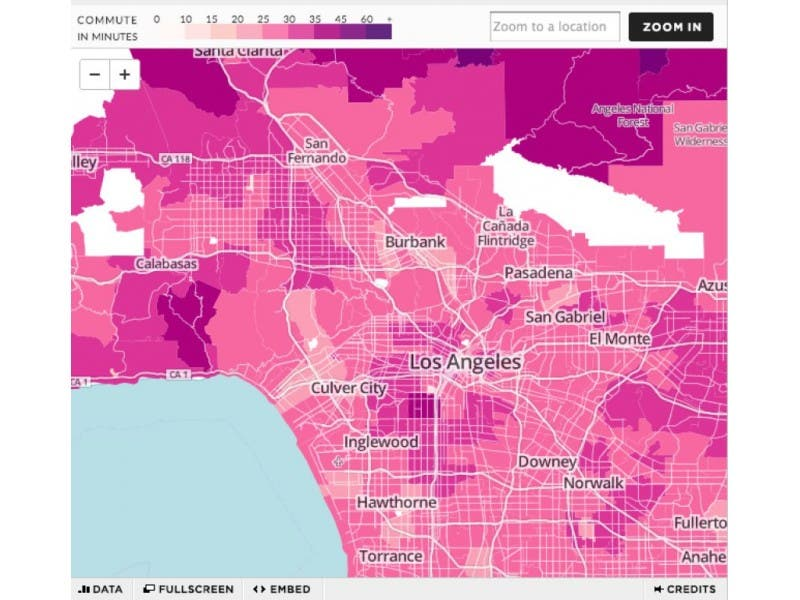 Map Average Commute Time In North Hollywood 28 Minutes North