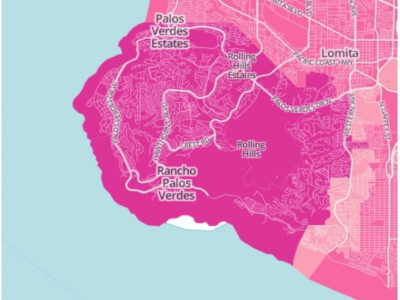 Palos Verdes Zip Code Map.What S The Average Commute Time In Pv Palos Verdes Ca Patch