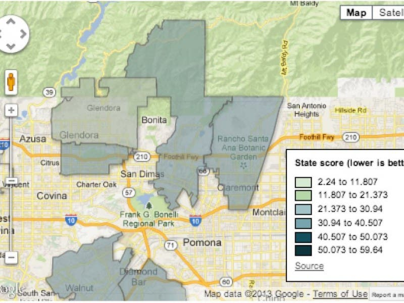 Upland Zip Code Map.How Bad Is Claremont And La Verne Pollution See What New State