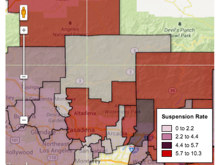 Map Of Canada For Students.Map La Canada Unified Students Suspended At Rates Below County