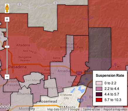 Map: Arcadia Students Suspended Far Less than County, State