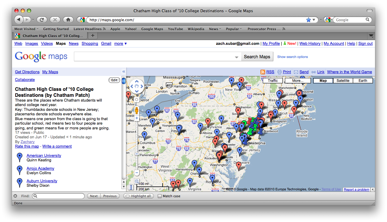 Here S Where Chatham High School Students Are Going To College Next Year With Interactive Map Chatham Nj Patch