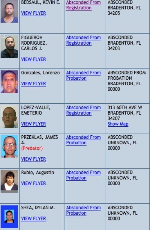 sex offender list florida