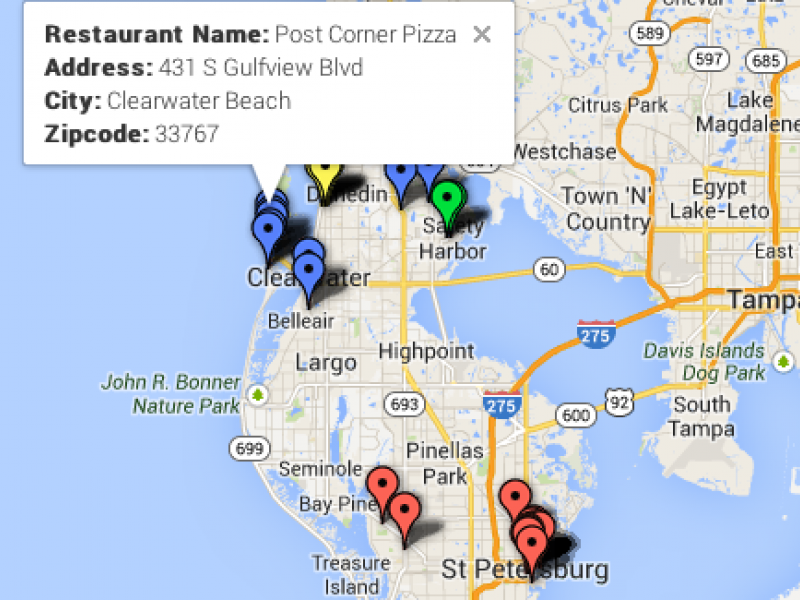 Doggy Dining Map: Dog-Friendly Restaurants in Clearwater, Pinellas on