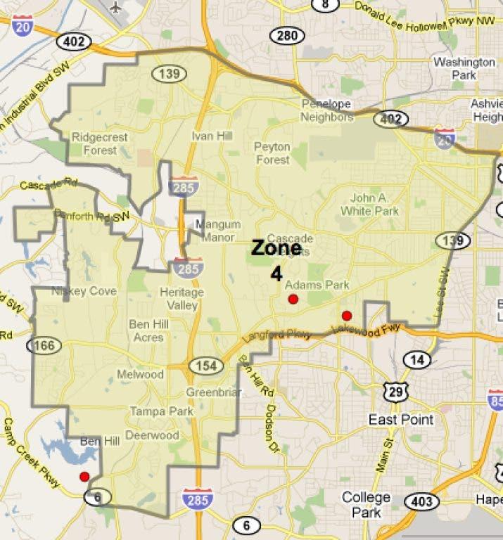 Atlanta Zones Map No February Homicides in Zone 4, Atlanta Police Records Show